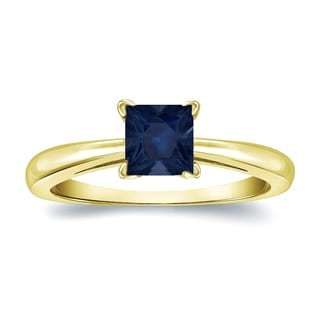 Auriya 14k Gold 1/4ct Princess Cut Blue Sapphire Solitaire Ring