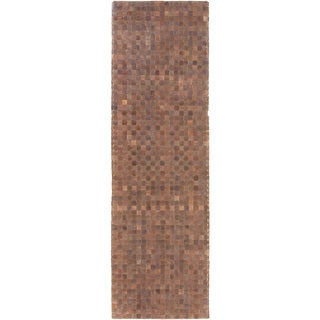 Hand-Woven Burslem Crosshatched Leather Rug (2'6 x 8')