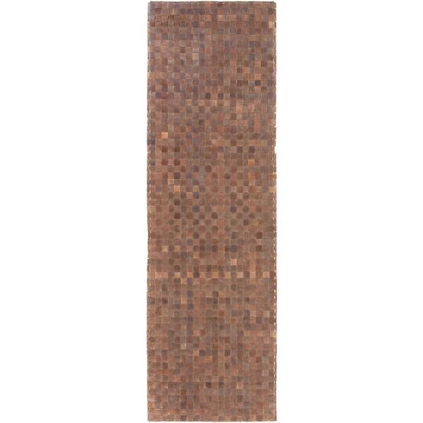 Hand-Woven Burslem Crosshatched Leather Rug (2'6 x 8')