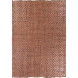Hand-Woven Burslem Crosshatched Leather Area Rug
