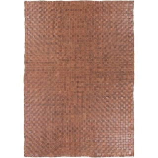 Hand-Woven Burslem Crosshatched Leather Rug (2' x 3')