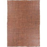 Hand-Woven Burslem Crosshatched Leather Area Rug - 2' x 3'