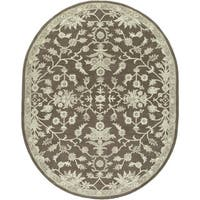 Hand-tufted Karla Traditional Wool Area Rug (6' x 9' Oval)