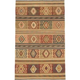 Ecarpetgallery Kashkoli Kilim Dark Orange-Red Wool Geometric Kilim Rectangular Rug (6'6 x 10'0)