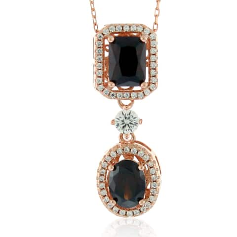 Suzy Levian Sterling Silver Brown and White Cubic Zirconia Pendant Necklace - Pink