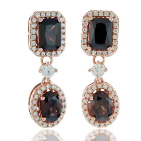 Suzy Levian Rose Sterling Silver Brown and White Cubic Zirconia Chocolate Earrings - Pink