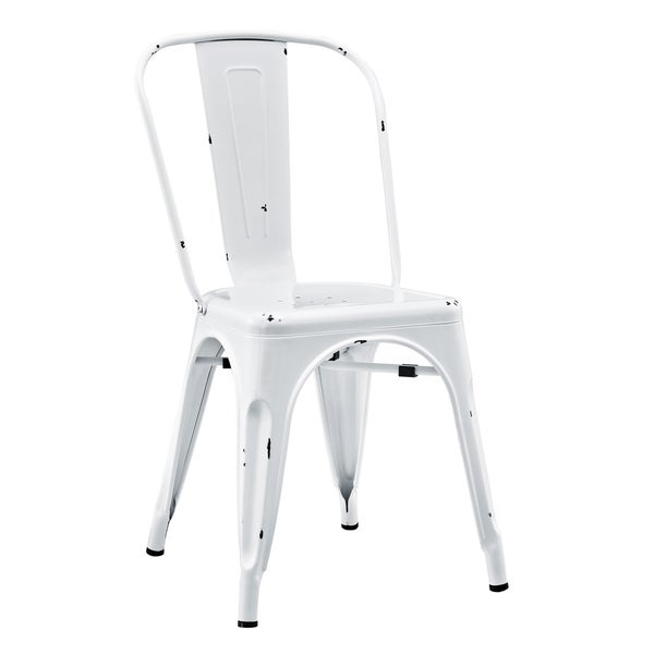Modern White Metal Cafe Chair