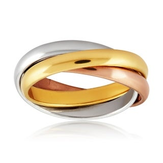 Women's Tri-color Stainless Steel Intertwined Triple Band Ring - Multicolor