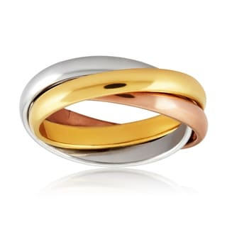 Tri-Color Stainless Steel Intertwined Triple Band Ring
