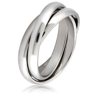Women's Stainless Steel Intertwined Triple Band Ring