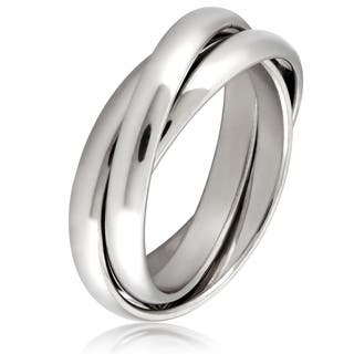 Stainless Steel Intertwined Triple Band Ring - Silver|https://ak1.ostkcdn.com/images/products/10539954/P17620982.jpg?impolicy=medium