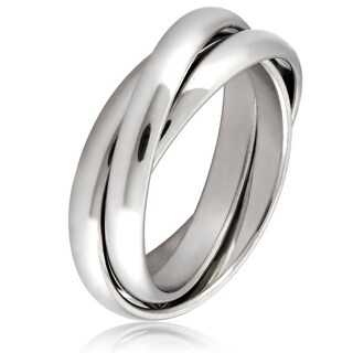 Stainless Steel Intertwined Triple Band Ring - Silver