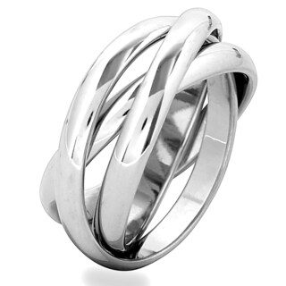 Stainless Steel Intertwined Triple Band Ring - Silver (3 options available)