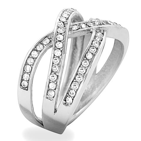 ELYA Stainless Steel and Crystal Overlapping Split-Shank Ring - Silver