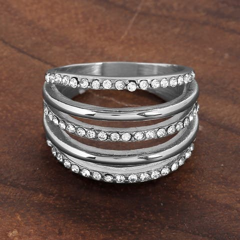 ELYA Stainless Steel Crystal 5-Layered Ring