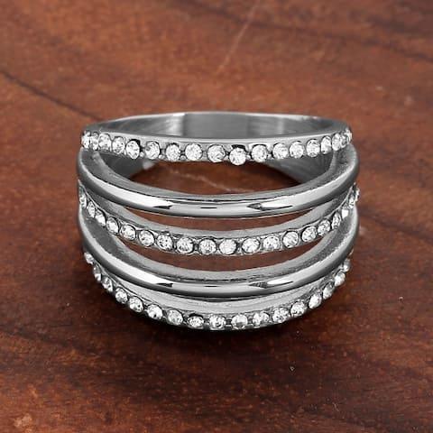 ELYA Stainless Steel Crystal 5-Layered Ring