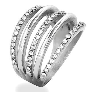 ELYA Stainless Steel Crystal 5-Layered Ring (More options available)