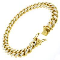 Goldplated Sterling Silver Men's 10.5mm Solid Diamond-cut Miami Cuban Bracelet