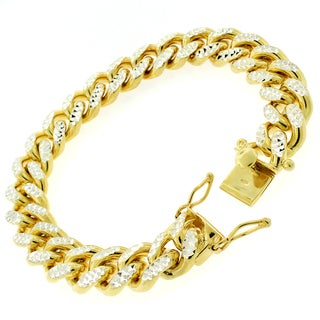 Goldplated Sterling Silver Men's 14mm Solid Diamond-cut Miami Cuban Bracelet