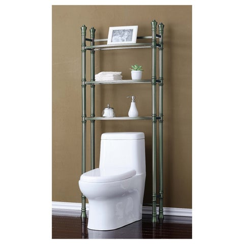 Best Living Monaco Brushed Titanium Bath Etagere Space Saver Shelf - Silver