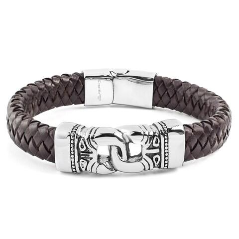 Crucible Stainless Steel Interlocking Brown Leather ID Bracelet