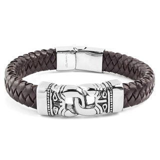 Crucible Stainless Steel Interlocking Brown Leather ID Bracelet