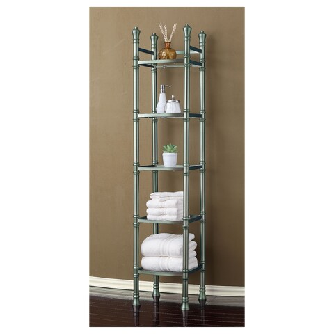 Best Living Monaco Brushed Titanium Tall Shelf Etagere - Silver