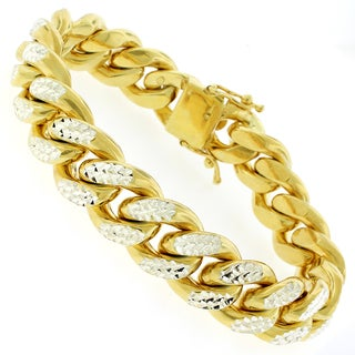 Goldplated Sterling Silver Men's 15.5mm Solid Diamond Cut Miami Cuban Bracelet