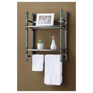 Best Living Monaco Brushed Titanium Wall-mount Small Etagere - Silver