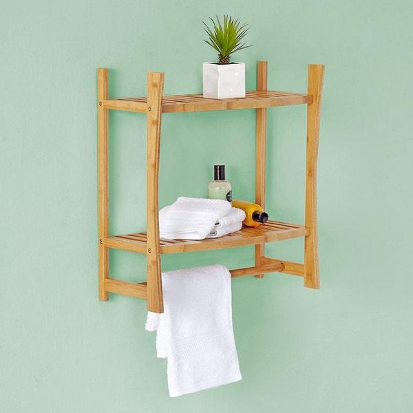 Best Living Bamboo Bath Wall-mount Shelf with Towel Bar - Free ...