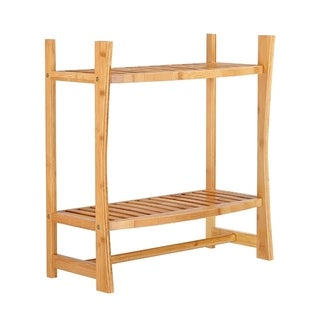 Best Living Bamboo Bath Wall-mount Shelf with Towel Bar - N/A