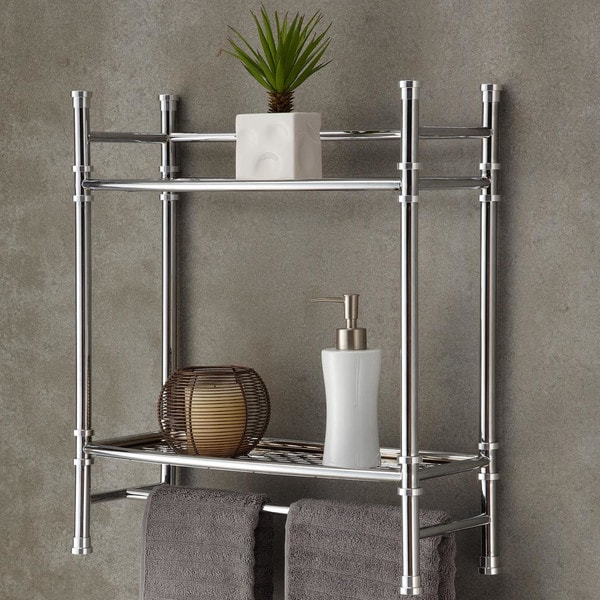 Best Living Bath Chrome Plated Wall Shelf with Towel Bar - Silver ...