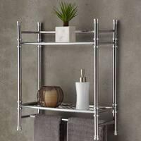 Best Living Bath Chrome Plated Wall Shelf with Towel Bar - Silver