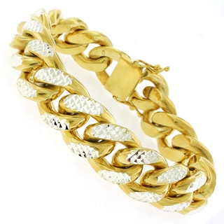 Goldplated Sterling Silver Men's 17.5mm Solid Diamond-cut Miami Cuban Bracelet