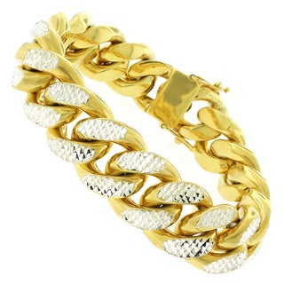 Goldplated Sterling Silver Men's 20mm Solid Diamond-cut Miami Cuban Bracelet