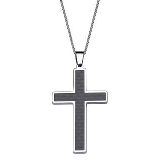 Stainless Steel and Carbon Fiber Large Cross 'Dad' Pendant