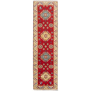 Royal Kazak Red Wool Geometric Runner Rug (2'9 x 9'10)