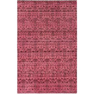 Ecarpetgallery Authentic Ushak Dark Pink Wool Open Field Rectangular Rug (5'9 x 9'0)