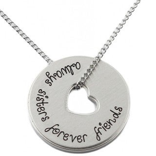 Stainless Steel 'Always Sisters Forever Friends' Pendant