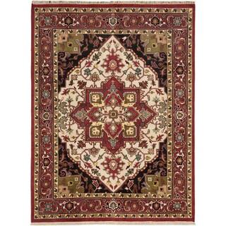 Ecarpetgallery Royal Heriz Cream Wool Medallion Corners Rectangular Rug (8'11 x 11'10)