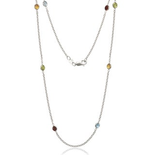 Sterling Silver Multi-color Cubic Zirconia by the Yard Necklace