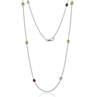 Sterling Silver Multi-color Cubic Zirconia by the Yard Necklace - White