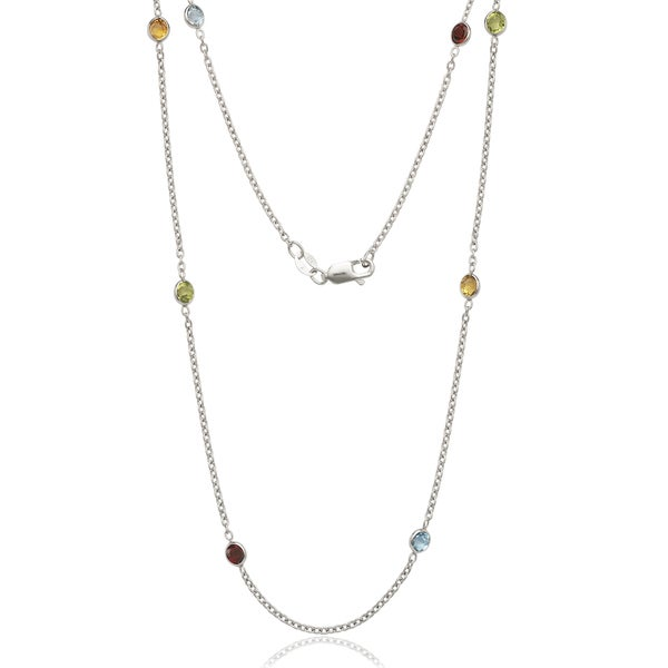 Sterling Silver Multi-color Cubic Zirconia by the Yard Necklace - White. Opens flyout.