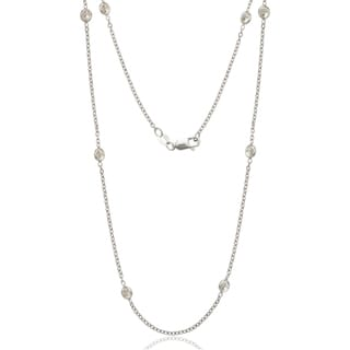 Sterling Silver White Cubic Zirconia by the Yard Necklace