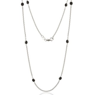 Sterling Silver Black Cubic Zirconia by the Yard Necklace