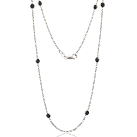 Sterling Silver Black Cubic Zirconia by the Yard Necklace - White