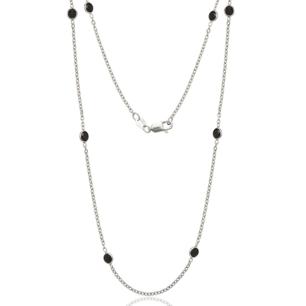 Sterling Silver Black Cubic Zirconia by the Yard Necklace - White. Opens flyout.