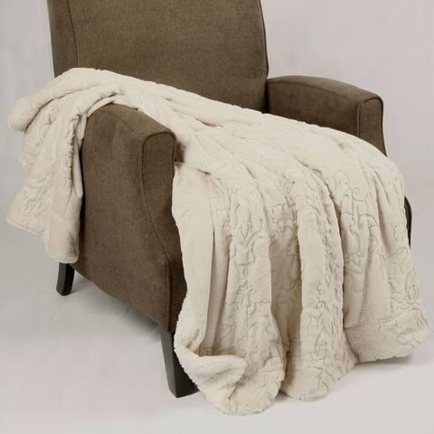 BOON Embroidery Batik FauxFur Sherpa Throw Blanket
