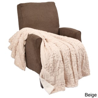 BOON Embroidery Batik FauxFur Sherpa Throw Blanket