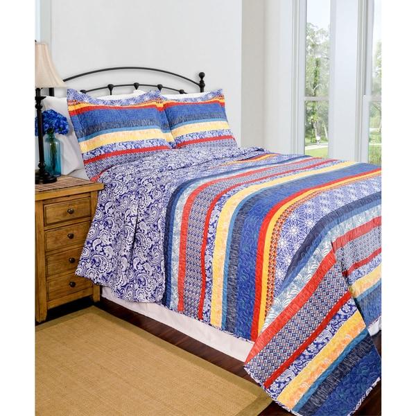 Slumber Shop Reversible Escapade Blue 3-piece Quilt Set